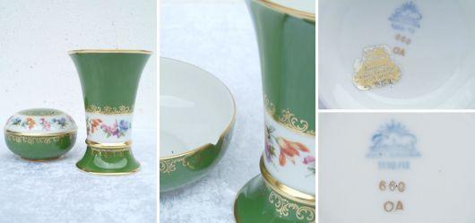 Porzellan Vase und Dose mit Deckel