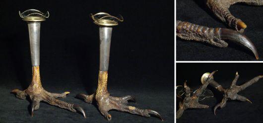 Sehr seltenes Kerzenhalter-Pärchen mit Adlerklauen (Artdeco)