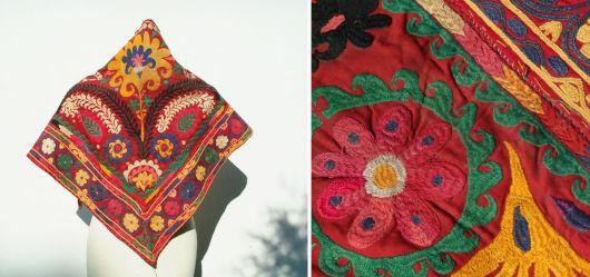 Farbenprächtiges Dreieckstuch aus Usebkistan um 1900