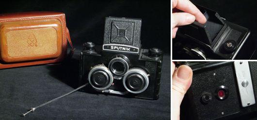 Stereokamera Sputnik mit originaler Ledertasche