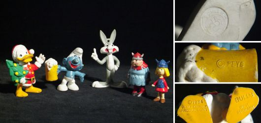 Lot of plastic figures - cartoon characters from the 1980s