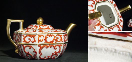 Teapot with gold ornaments  19. Century