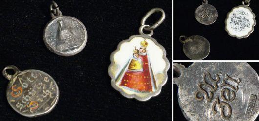 Drei alte christliche Silber-Anhänger 1880 – 1900