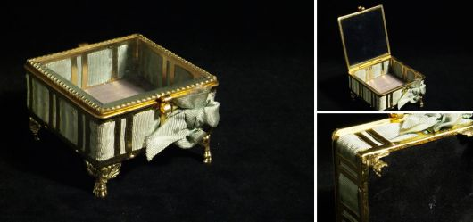 Antique jewellery box made of glass and brass 1900