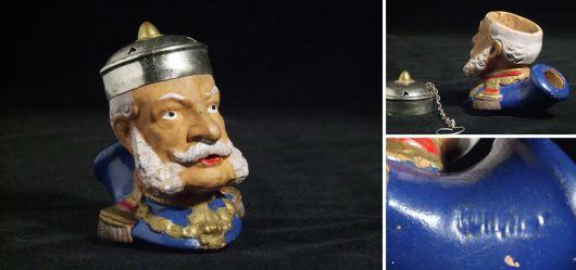 Historische Pfeife plastischer Kopf des deutschen Kaiser Wilhelm I.; Ende 19. Jahrhundert
