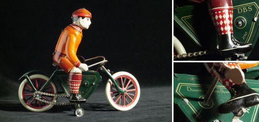 Fahrradfahrer aus Blech im Vintage-Design