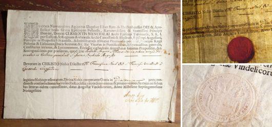 Dokument in Latein Ende 18. Jahrhundert