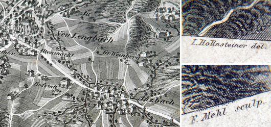 Alte Landkarte 19 JHD.  Alt & Neu Lengbach