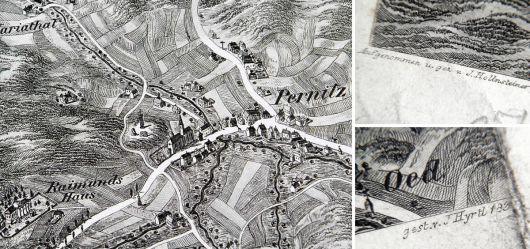 Alte Landkarte 19 JHD. Pernitz
