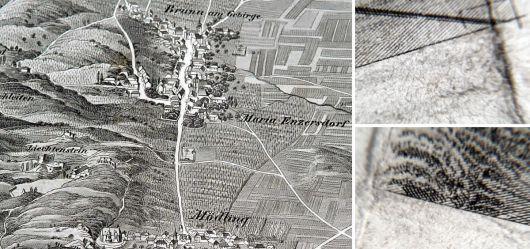 Alte Landkarte 19 JHD. Mödling und Lachsenburg