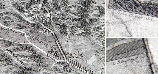 Alte Landkarte 19 JHD. Fahrafeld und Merkenstein