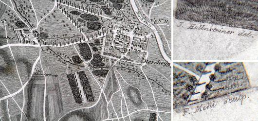 Alte Landkarte 19 JHD. Schönfeld und Marchegg im Marchfelde