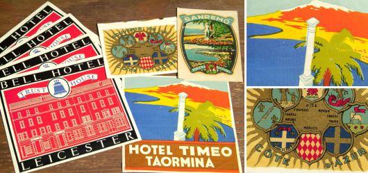 Vintage advertising stickers