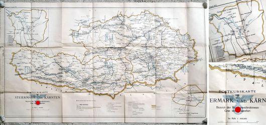 Postkurskarte von Steiermark und Kärnten