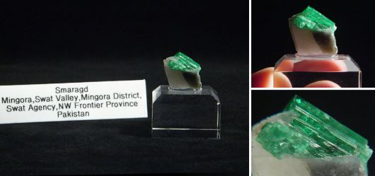 Smaragdstufe auf weißen Quarz Pakistan