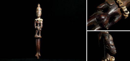 Zeremonien-Stab der Yoruba Nigeria Mitte 20. Jahrhundert