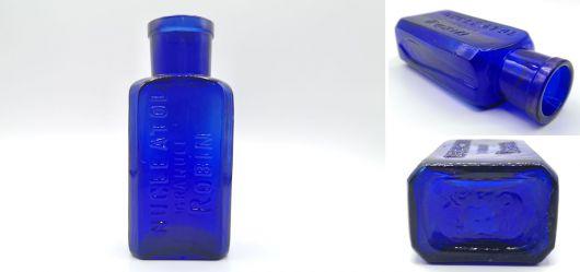 Kobalt-Blaue Medizinflasche NUCLEATOL GRANULE ROBIN