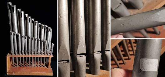Historic organ pipes from the turn of the century 1880 - 1920