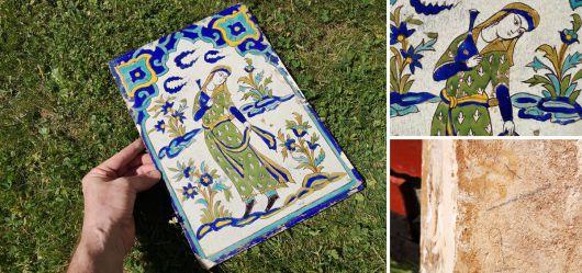 Wandfliese mit figürlicher Darstellung Islam erste Hälfte 19.Jahrhundert