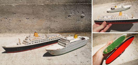 Zwei alte Schiffs-Modelle erste Hälfte 20. Jahrhundert