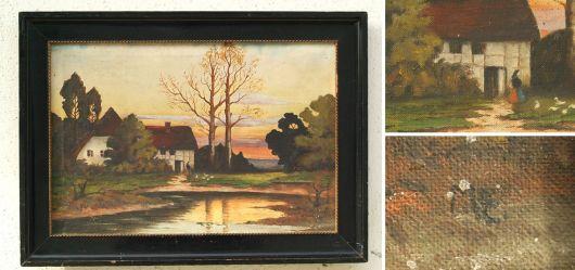 Bauernhof bei Sonnenuntergang