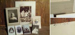 Alte Kinder-Porträtfotos auf Karton um 1900