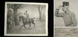 Alter Druck - Kaiser Franz Joseph zu Pferd 1898