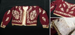 Red velvet, ladies jacket from the Ottoman or Turkmen region