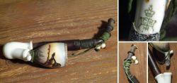 Biedermeierpfeife- Tabakpfeife aus Porzellan gestempelt C M HR  ca. 1879 -1904