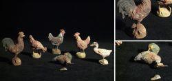 6 Stk. Bauernhof-Figuren aus Masse