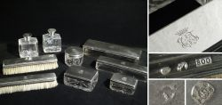 9 teilige Toilette Garnitur aus Glas und Silber