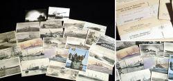 Militaria-Postkarten mit Kriegsschiffe und Panzer