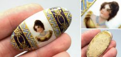 Miniature painting on oval porcelain plate around 1890