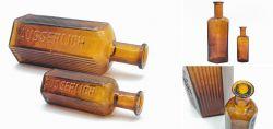 Two hexagonal narrow-neck bottles