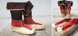 Sehr seltene volkstümliche Schuhe aus Filz und Leder