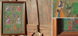 Indische Seidenstickerei im Holzrahmen