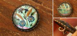 Jugendstil Silberbrosche Miniaturmalerei